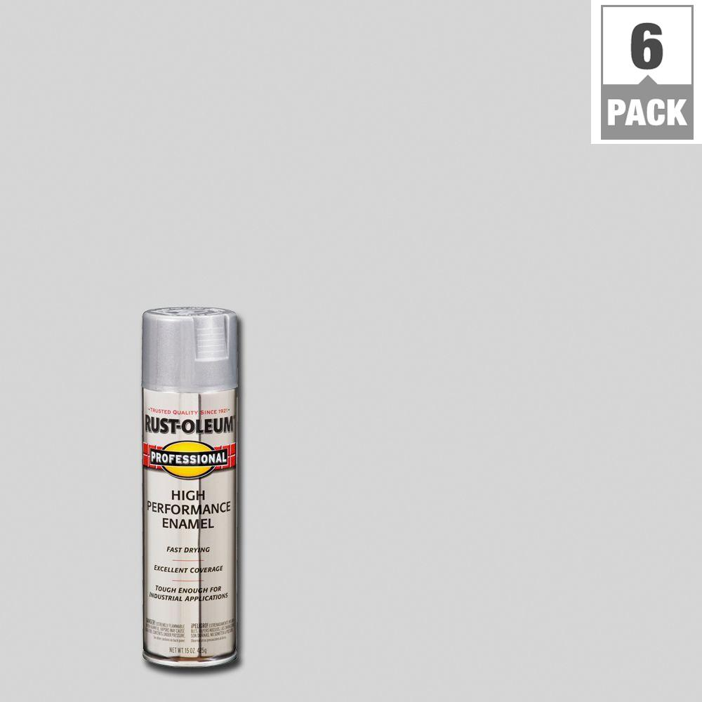 Rust Oleum Professional 15 Oz High Performance Enamel Gloss Aluminum Spray Paint 6 Pack 7515838 The Home Depot