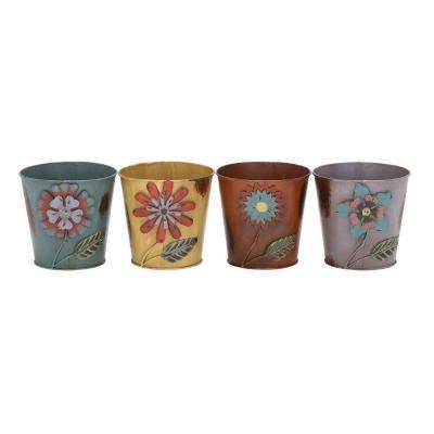 MTL 6 in. H x 6 in. W Metal Planter (Set of 4)