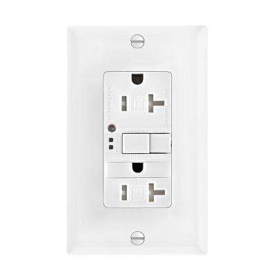 GFCI Self-Test 20A -125V Tamper Resistant Duplex Receptacle with Nightlight and Standard Size Wallplate, White