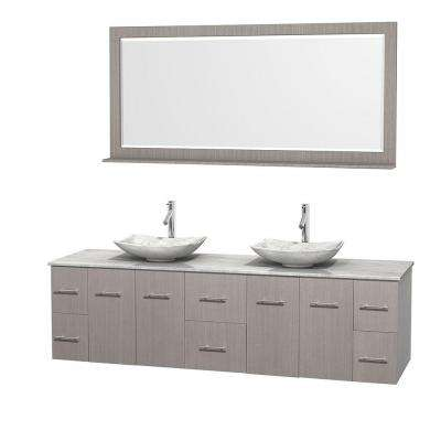 Centra 80 in. Double Vanity in Gray Oak with Marble Vanity Top in Carrara White, Marble Sinks and 70 in. Mirror