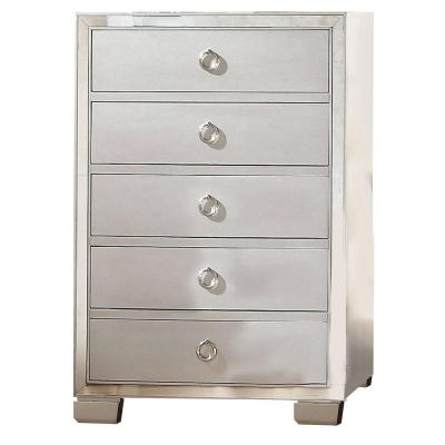 Five Drawer Silver Chest With Mirror Insert Front Trim