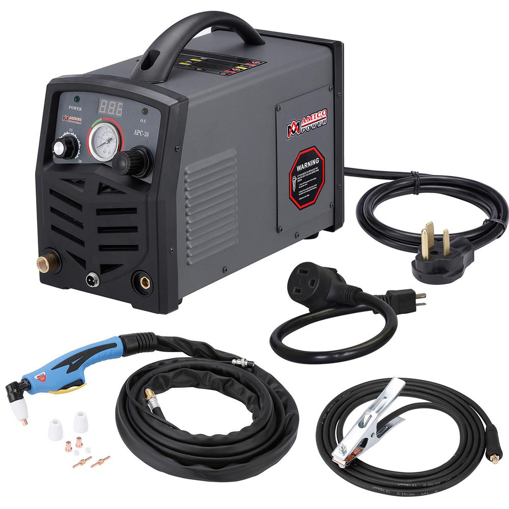 AMICO POWER APC-30, 30 Amp Plasma Cutter, 115-Volt/230-Volt Dual Voltage Compact Metal Cutting Machine, 3/8 inch Clean Cut