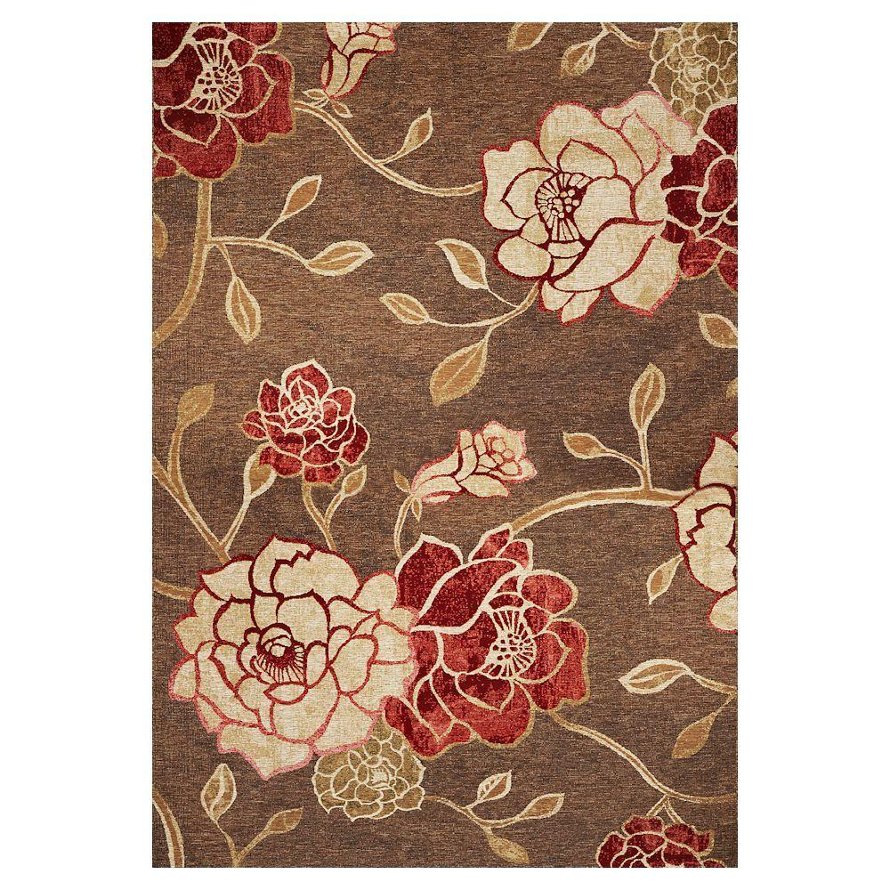 Kas Rugs Natures Flower Mocha 3 ft. 4 in. x 4 ft. 11 in. Area Rug