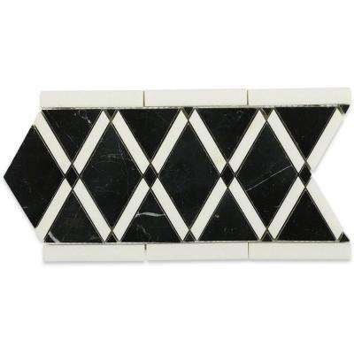Grand Nero Border 6 in. x 12 in. x 10 mm Polished Marble Floor and Wall Tile