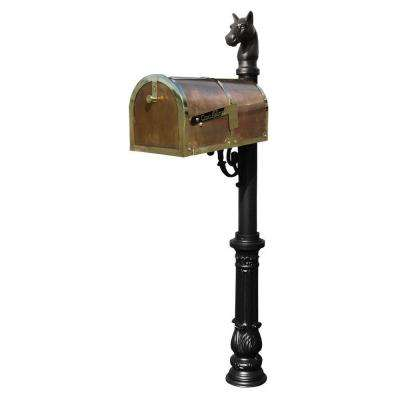 Polished Brass Post Mount Non-Locking Mailbox with Lewiston Post System