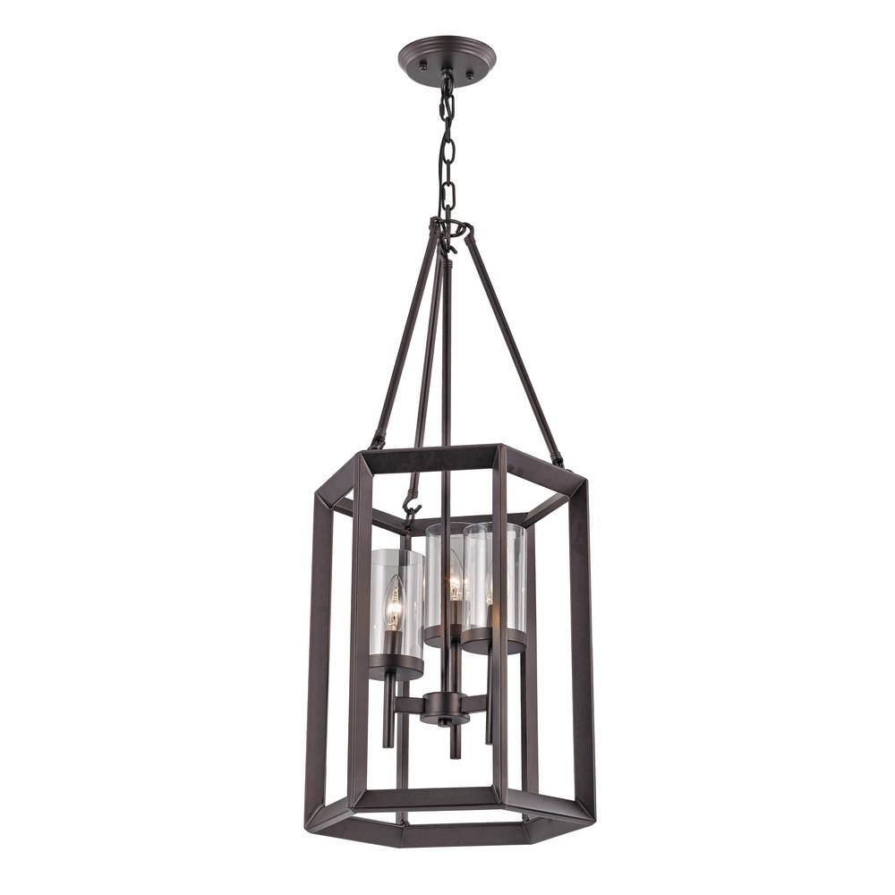 Bel Air Lighting 3-Light Rubbed Oil Bronze Pendant with Glass Shades