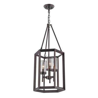 3-Light Rubbed Oil Bronze Pendant with Glass Shades