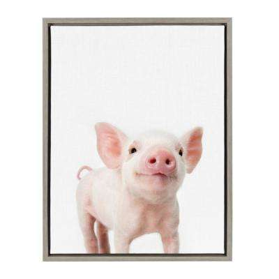 "Sylvie ""Animal Studio Piglet"" by Amy Peterson Framed Canvas Wall Art"