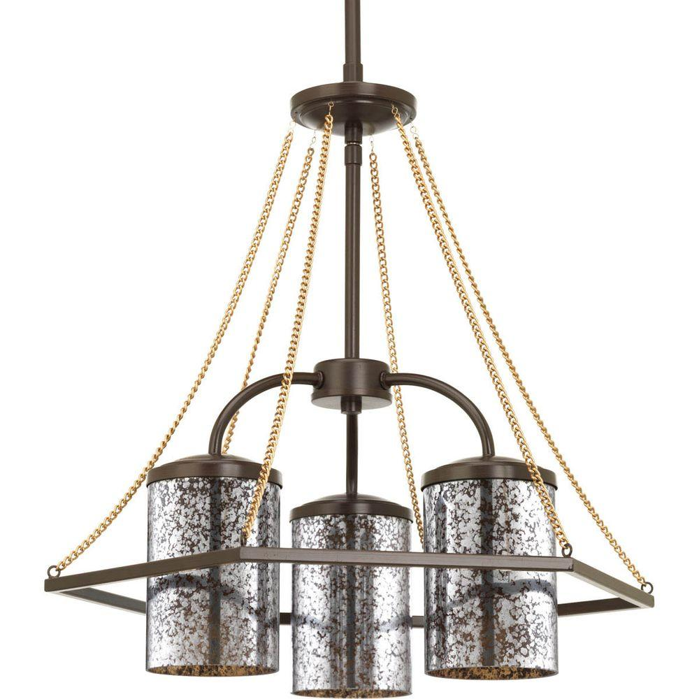 Progress Lighting Indi Collection 3 Light Antique Bronze Chandelier With Mirrored Glass