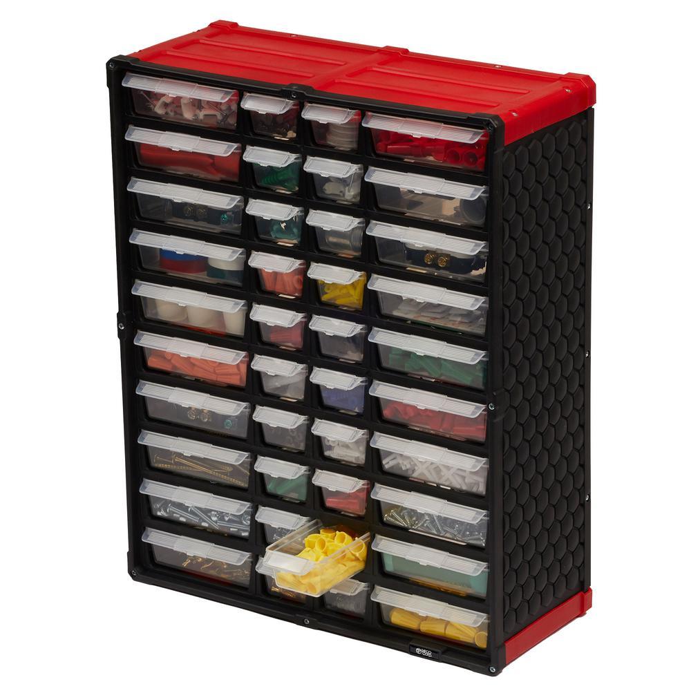40-Compartment Small Parts Organizer, Red