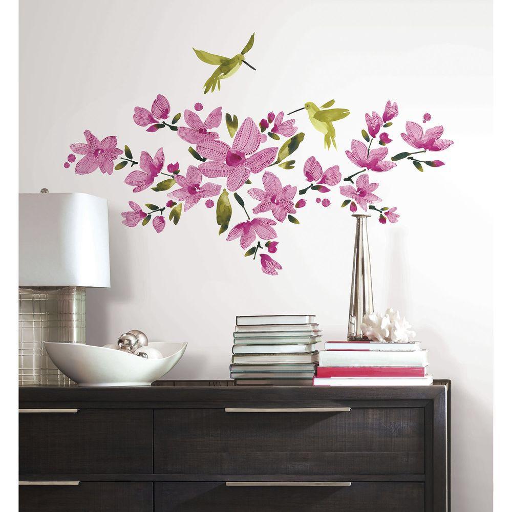 RoomMates 5 in. x 19 in. Pink Flowering Vine Peel and ...
