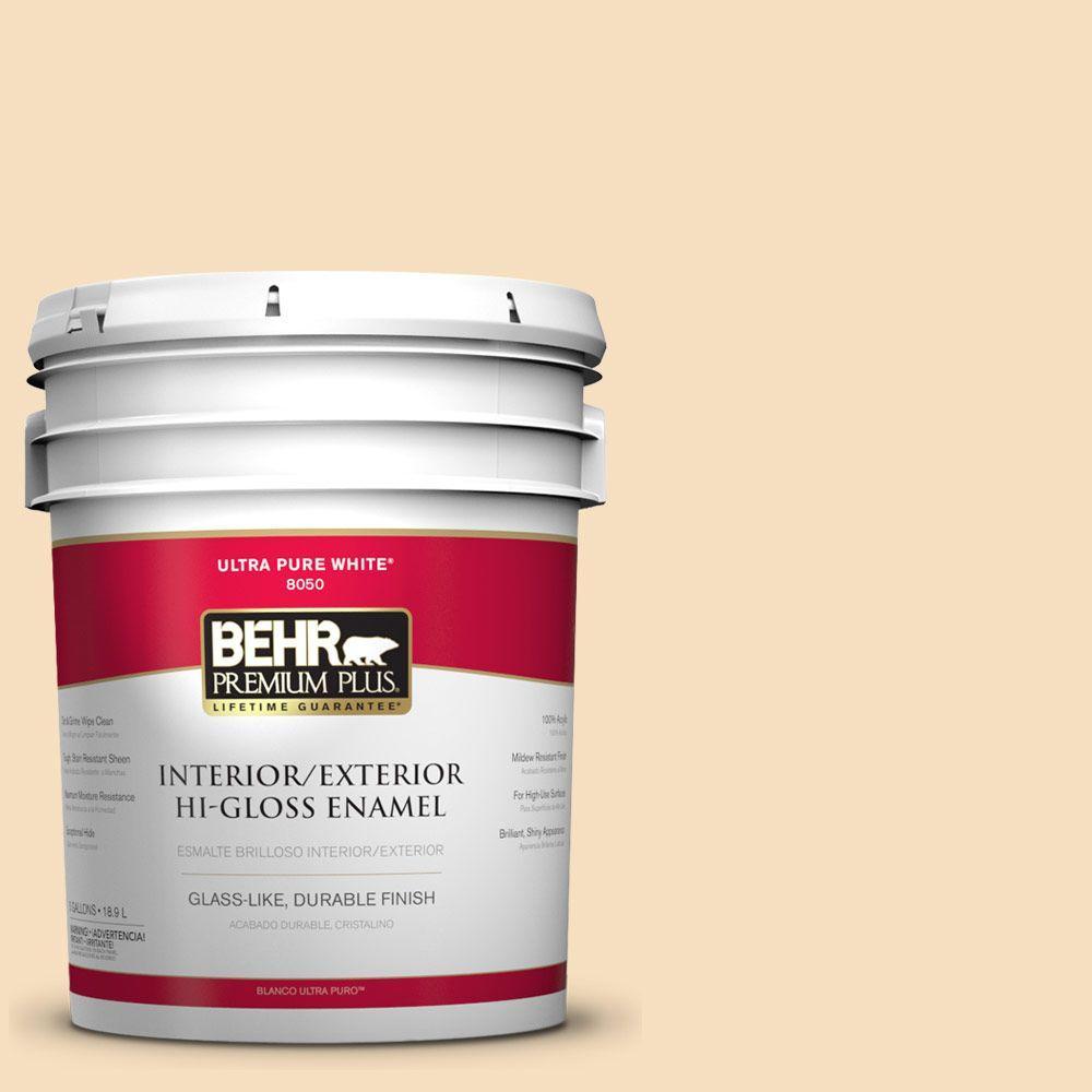 BEHR Premium Plus 5-gal. #PPL-41 Tea Cookie Hi-Gloss Enamel Interior/Exterior Paint