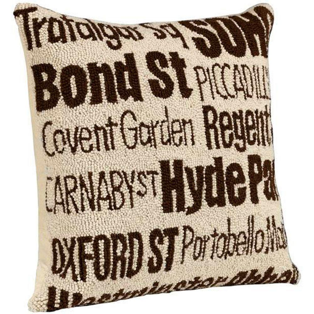 Home Decorators Collection City Hand-Hooked 18 in. W Ivory/Brown London Pillow