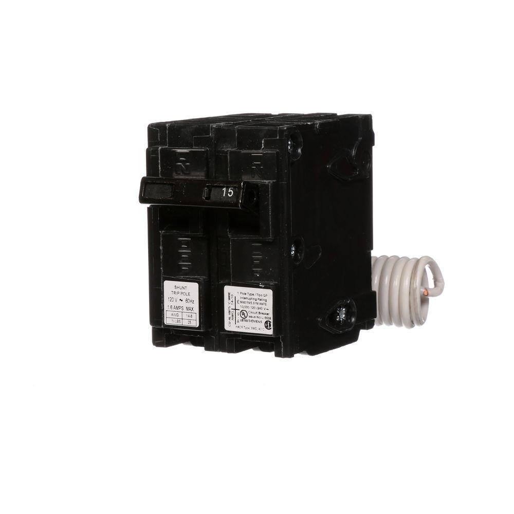 15 Amp Single-Pole Type QP Circuit Breaker with 120-Volt Shunt Trip