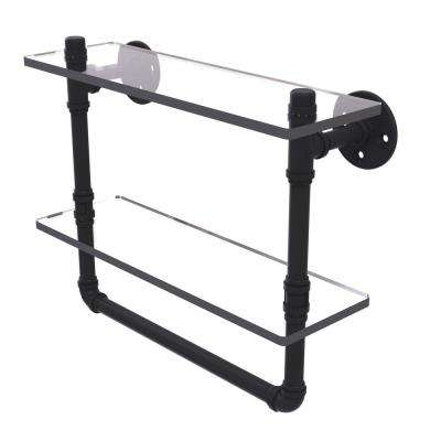 Pipeline Collection 16 in. Doulbe Glass Shelf with Towel Bar in Matte Black