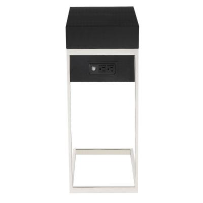 Magnus Black/Chrome End Table with 2-USB Charging Ports, 2-Outlets and Power Plug