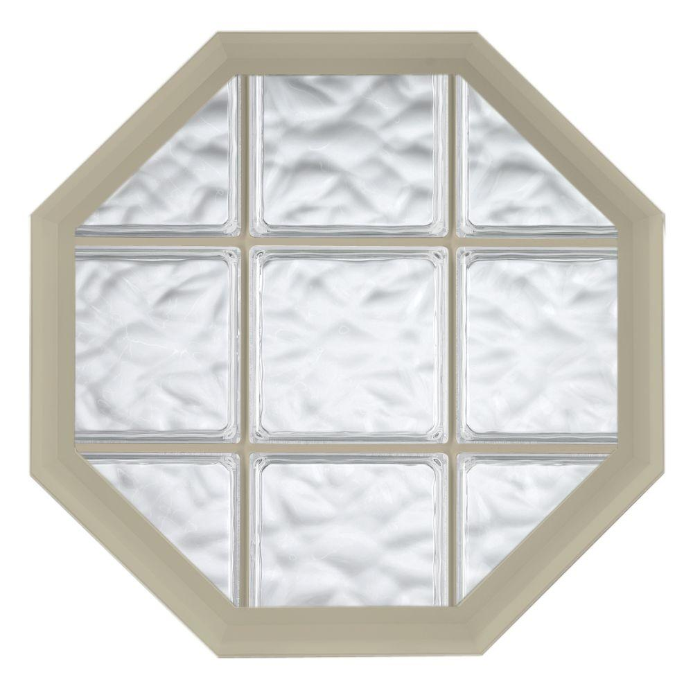 Hy-Lite 26 in. x 26 in. Acryilc Block Fixed Octagon Vinyl Window - Tan