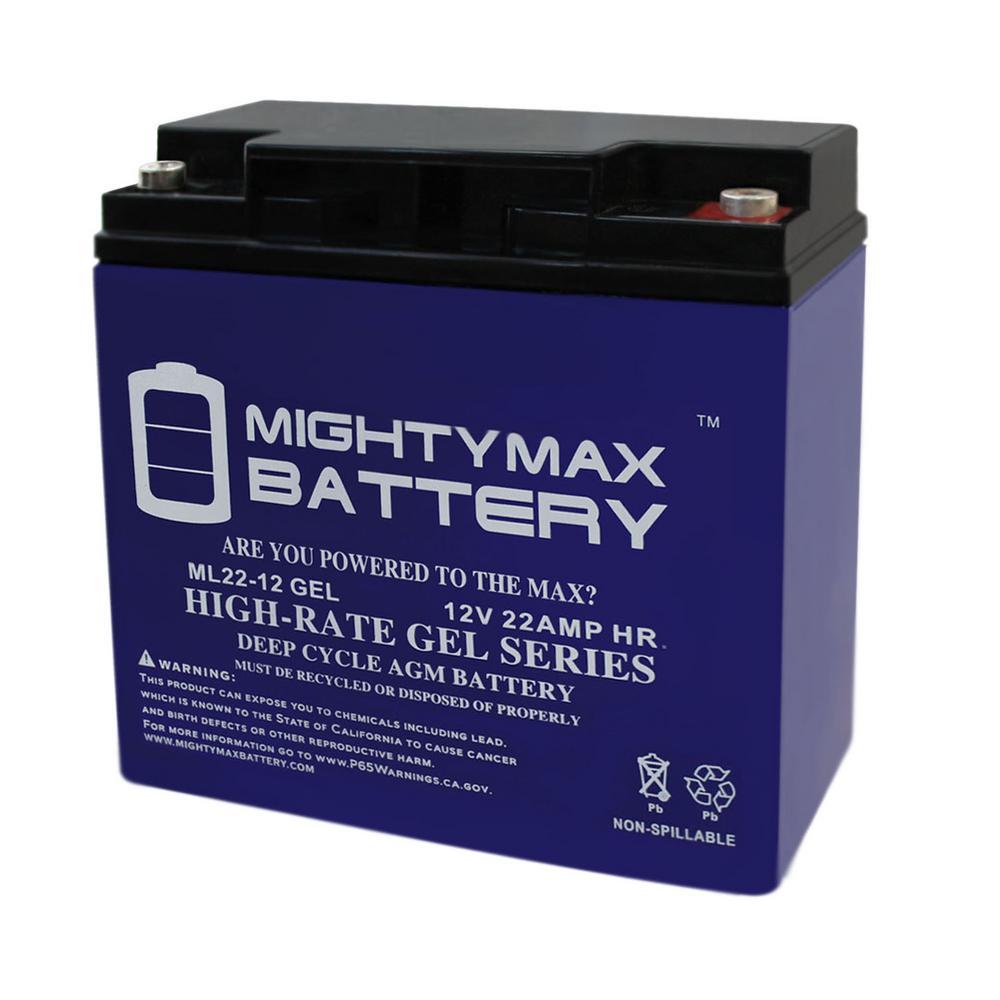 12-Volt 22 Ah Rechargeable GEL Sealed Lead Acid (SLA) Battery