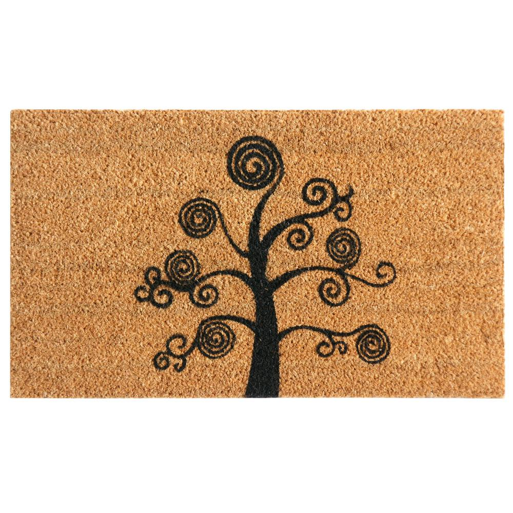 Deciduous Tree Tan 18 in. x 30 in. Coir Outdoor Mat
