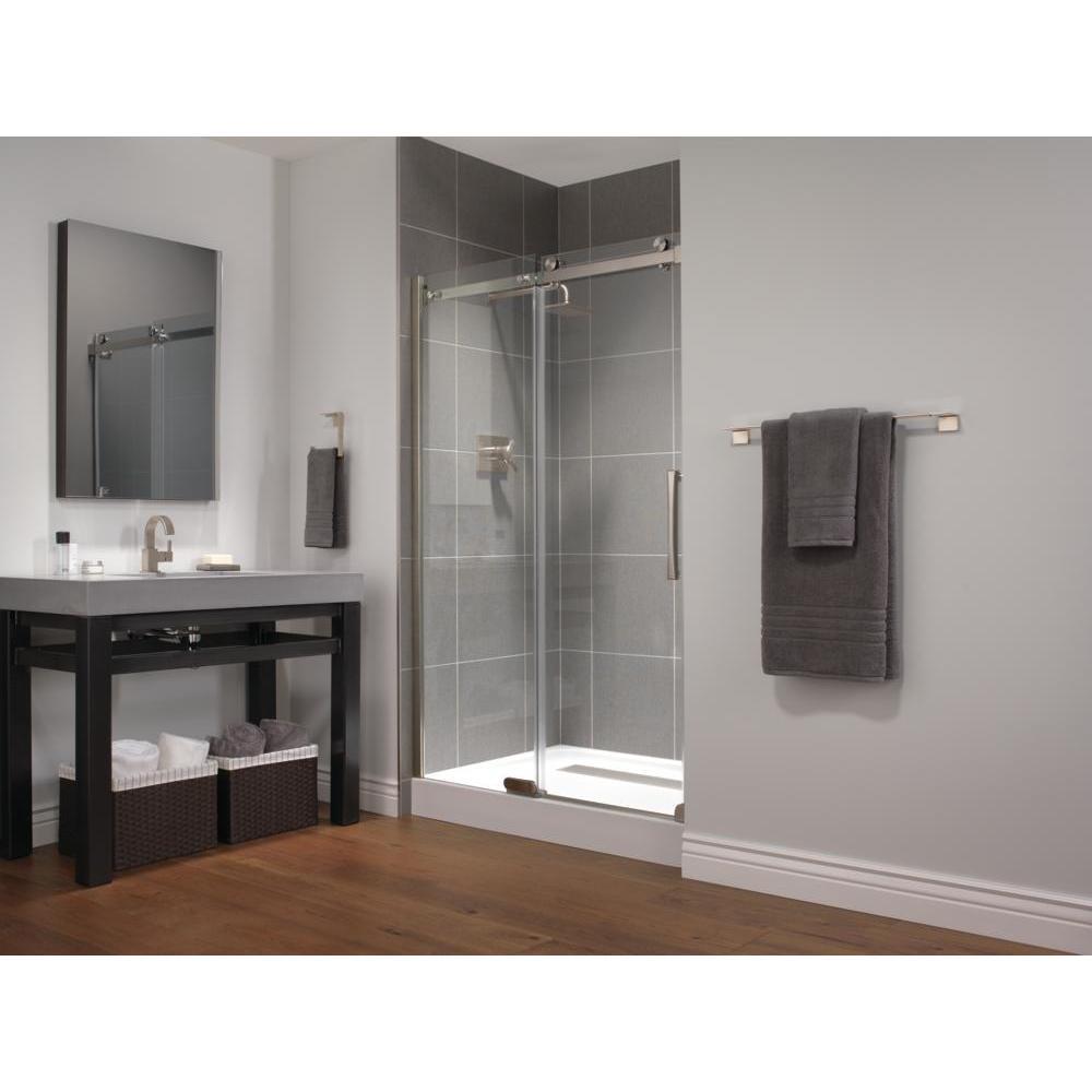 48 in. x 72 in. Frameless Sliding Shower Door in Stainless with 48 in. x 36 in. Base in White