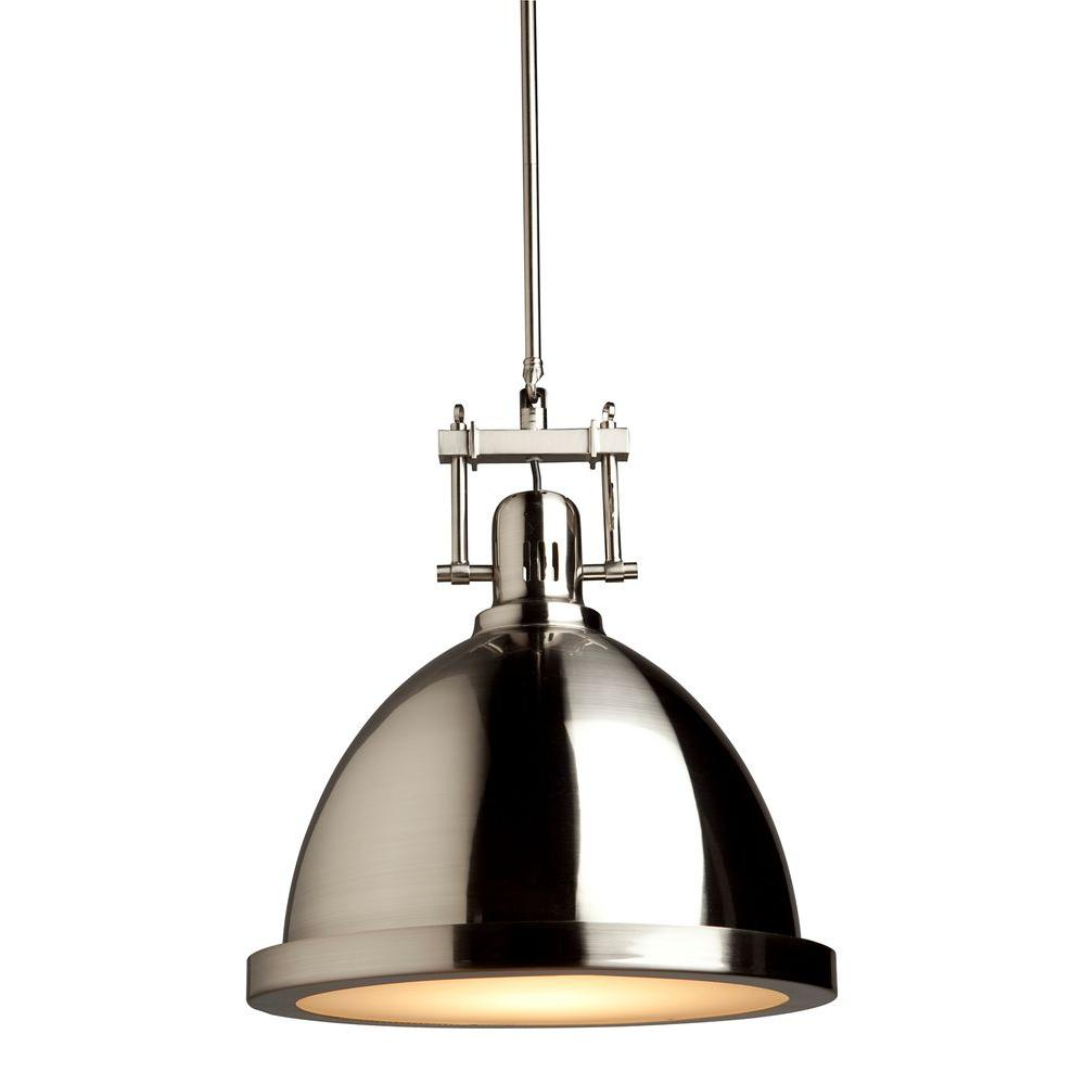 ARTCRAFT Broadview 1-Light Polished Nickel Pendant Beautifully spun metal dome on single rod with frosted glass diffuser on the bottom - Available in Antique brass, Chrome or Polished Nickel