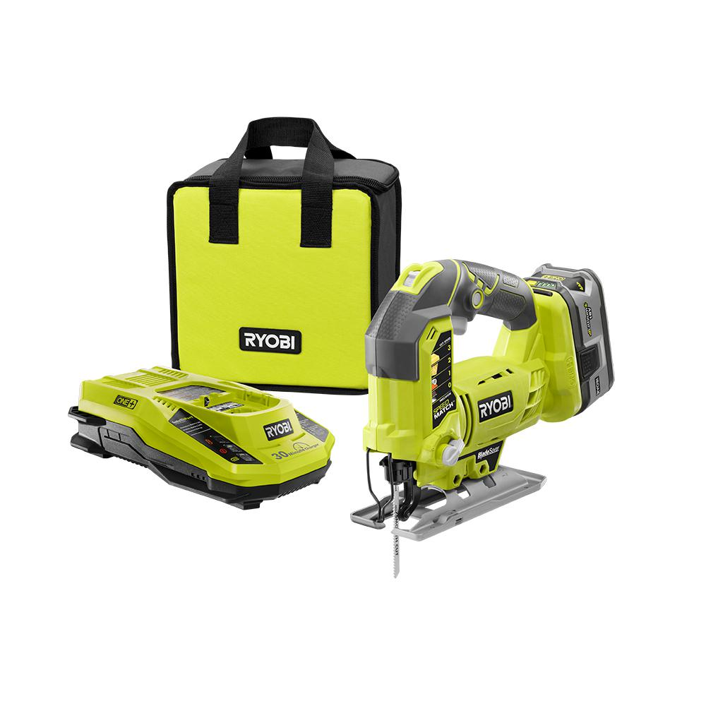 Ryobi 18-Volt ONE+ Jig Saw Kit with Lithium-Ion Compact Battery, Charger and Bag