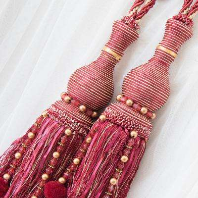 Handcrafted 25 in. L Tassel Knit Curtain Tieback in Burgundy (2-Pack)