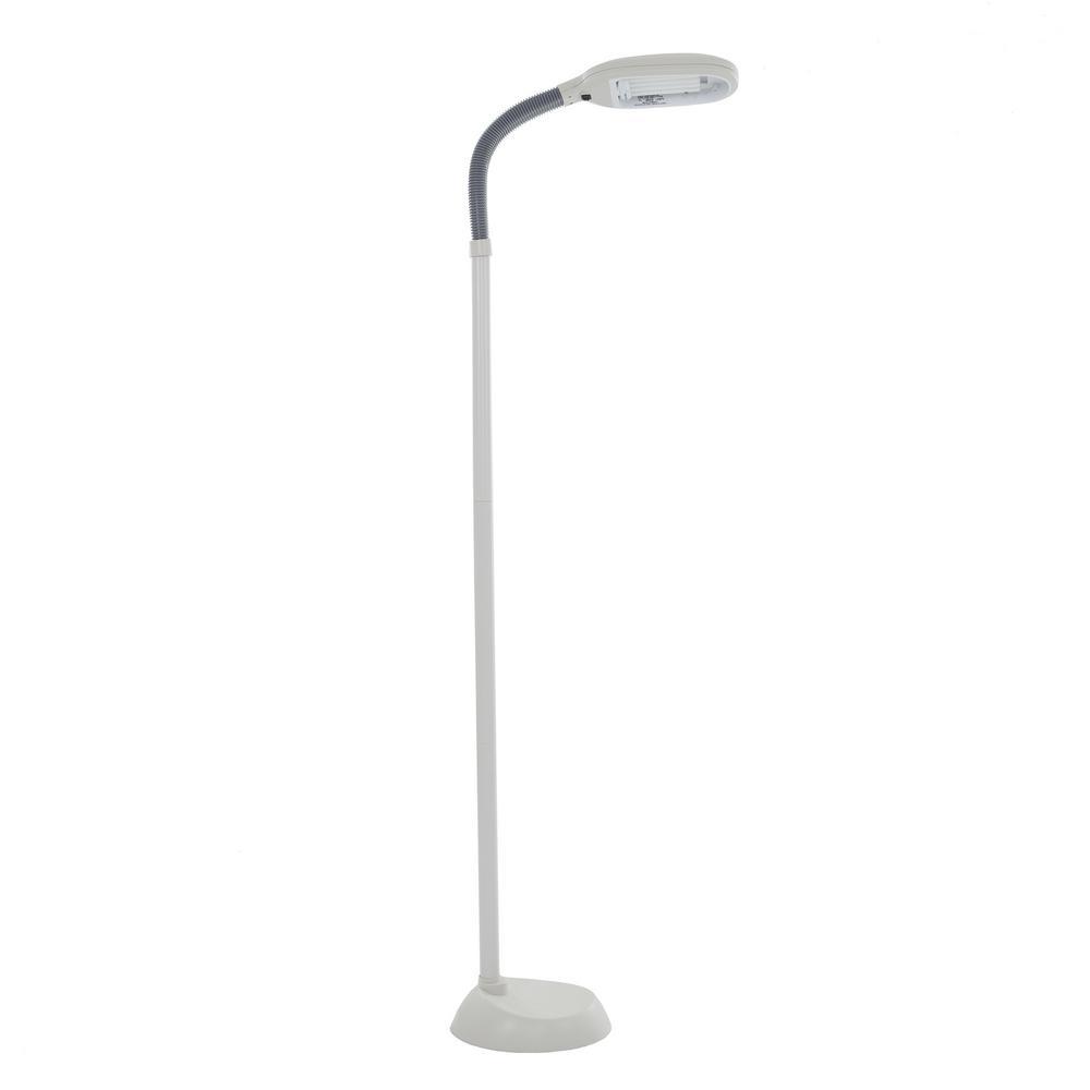 Lavish Home 72 In Beige Natural Full Spectrum Sunlight Gooseneck Floor Lamp
