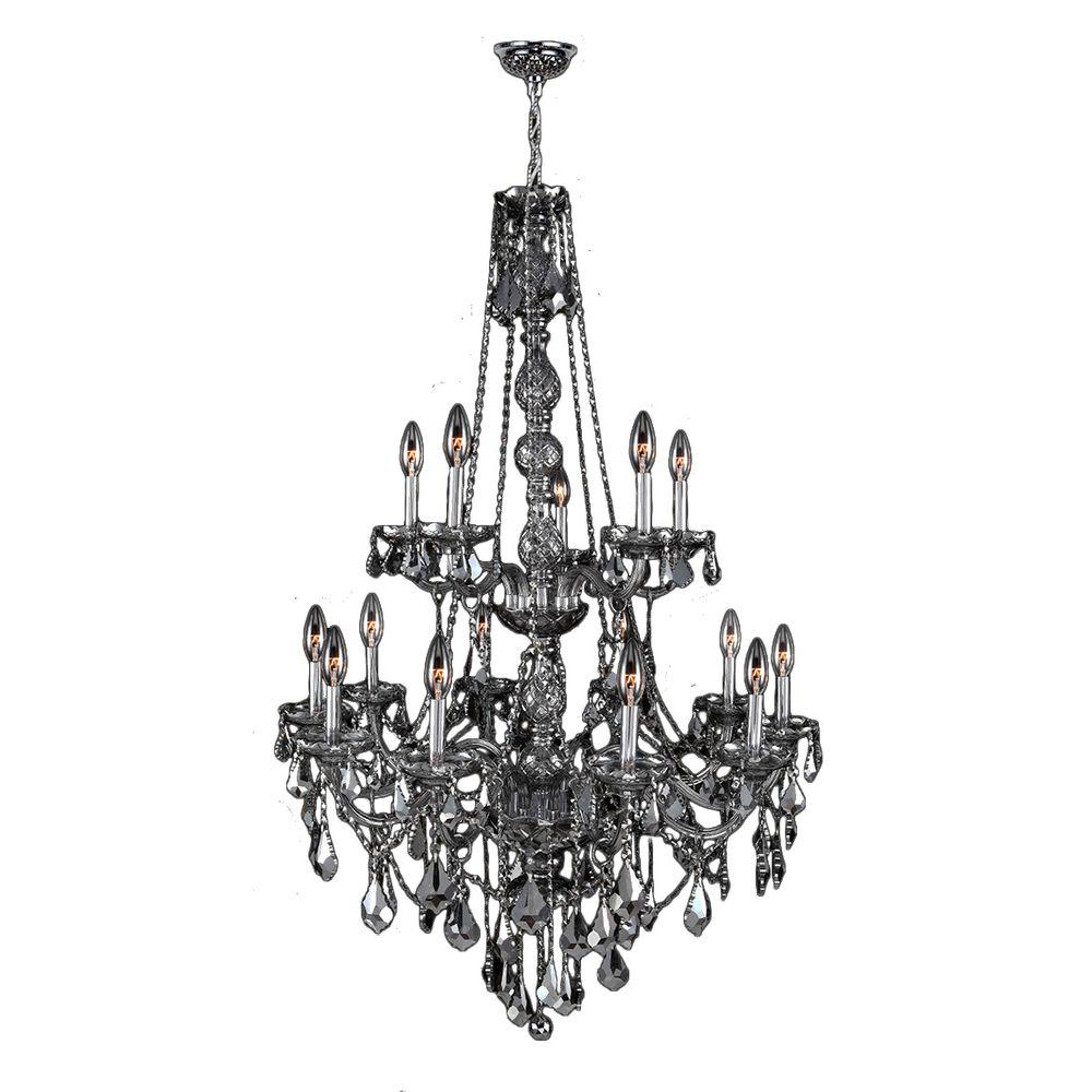 Worldwide Lighting Provence 15-Light Polished Chrome with Smoke Crystal Chandelier
