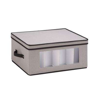 16.5 in. x 14.25 in. x 5.75 in. Dinnerware Storage Box in Gray Canvas with Cups