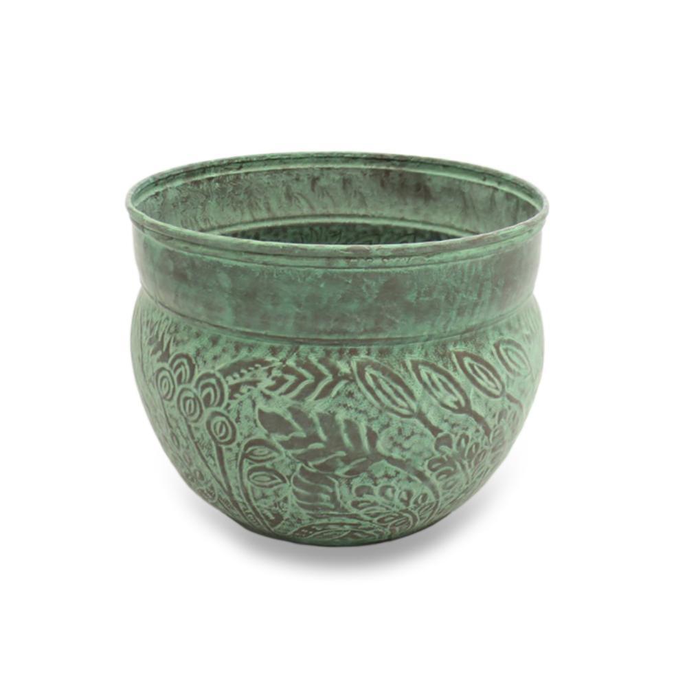 Brass Key West Hose Pot with Lid in Blue Verde