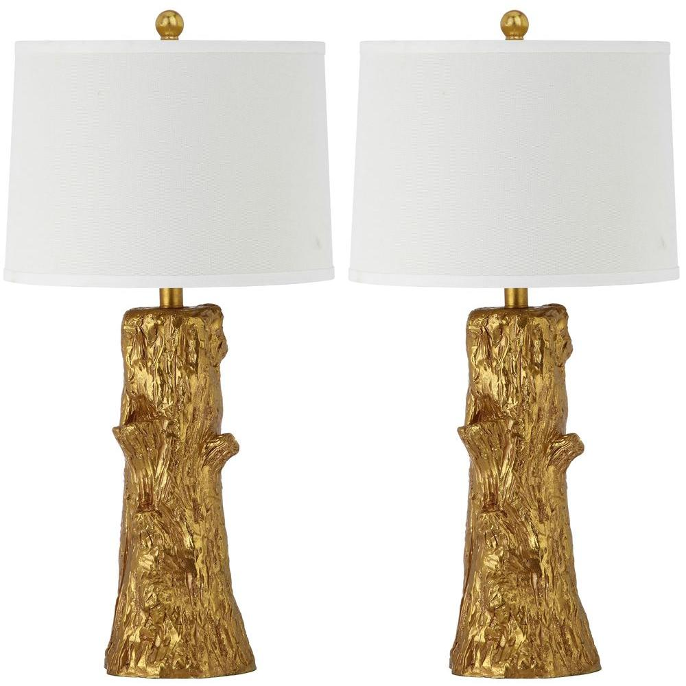 Arcadia Faux Bois 28.5 in. Gold Table Lamp with Off-White Shade