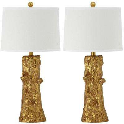 Arcadia Faux Bois 28.5 In. Gold Table Lamp With Off White Shade (Set. Gold