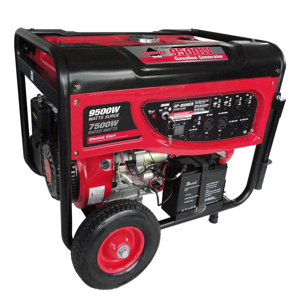 Smarter Tools GP9500EB, 7,500 Continuous Watt Gasoline Powered Portable Generator