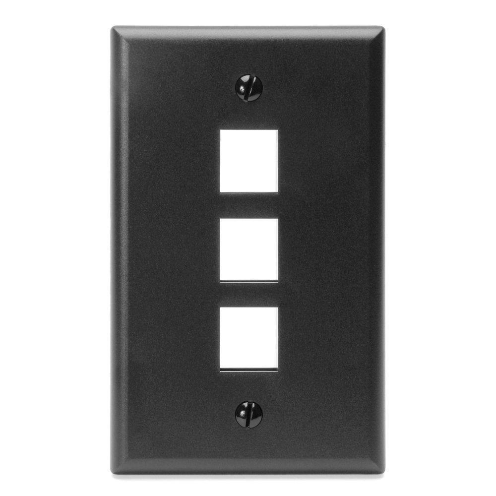 1-Gang QuickPort Standard Size 3-Port Wallplate, Black