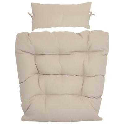 28 in. W x 27 in. H Indoor/Outdoor Replacement Seat and Headrest Cushion in Beige for Caroline Egg Lounge Chair