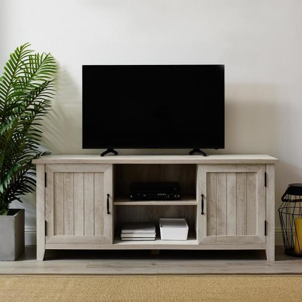 58 in. White Oak Composite TV Console 62 in. with Doors