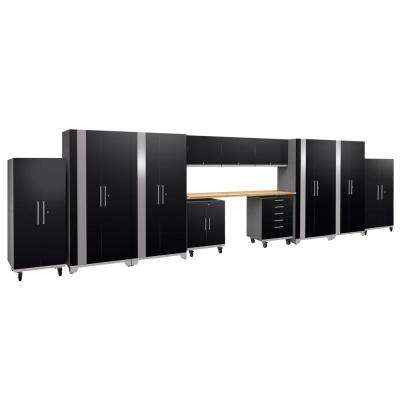 Performance Plus 2.0 80 in. H x 289 in. W x 24 in. D Steel Garage Cabinet Set in Black (12-Piece)