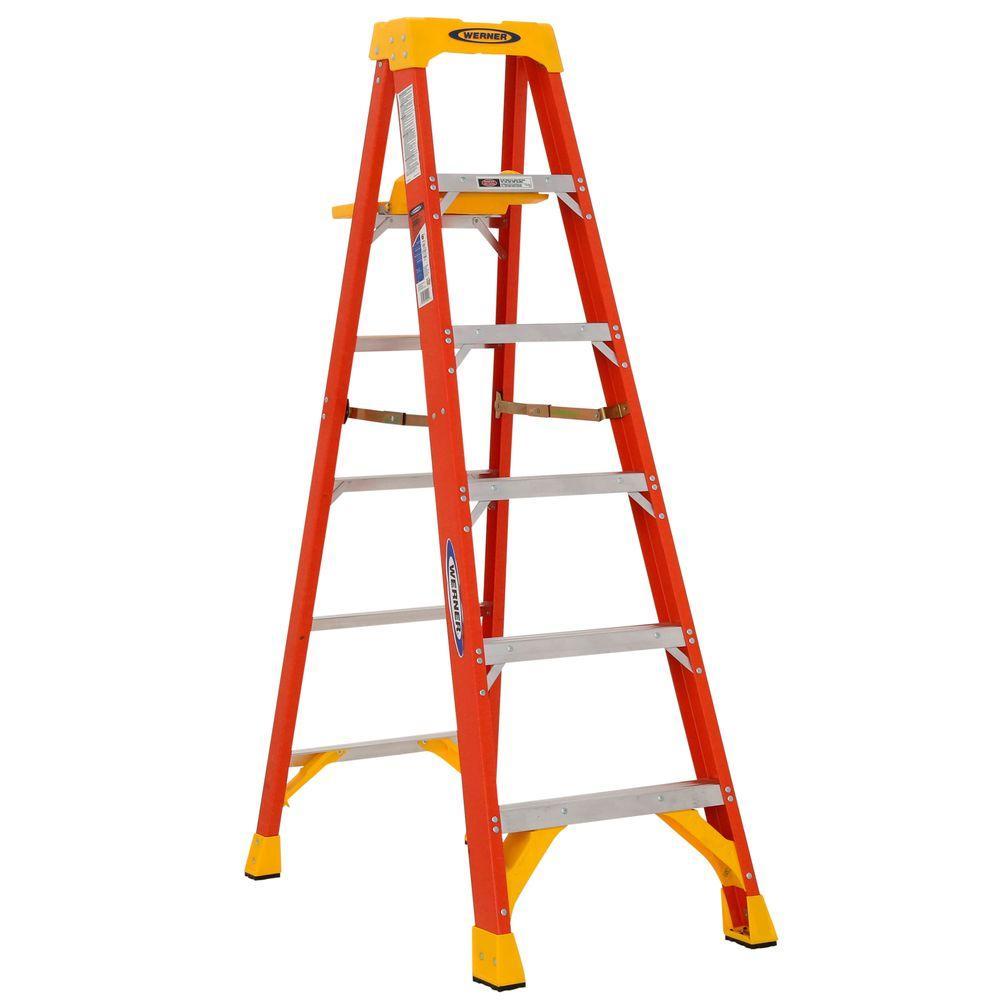 Werner 6 Ft Fiberglass Step Ladder With Shelf 300 Lb