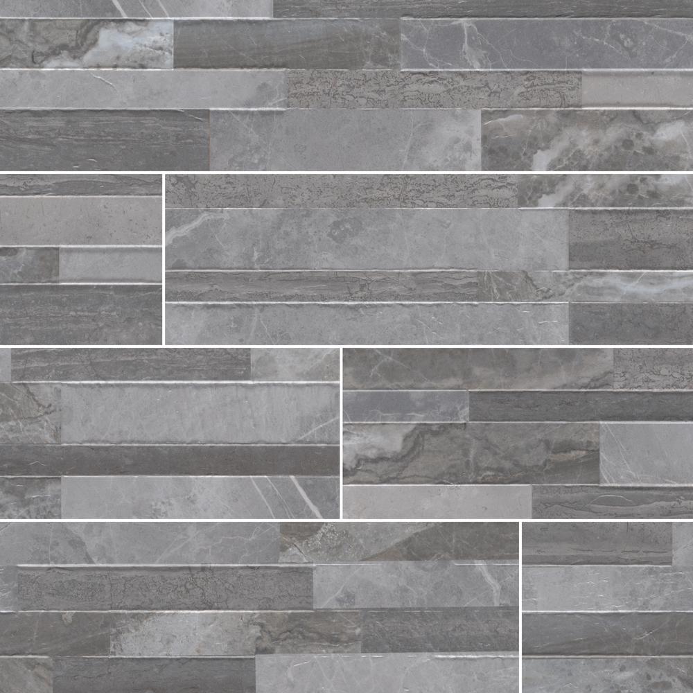 Palisade Grey Ledger Panel 6 in. x 24 in. Matte Porcelain Wall Tile (11 sq. ft. / case)