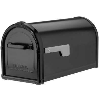 Hillsborough Post Mount Mailbox in Black with Silver Flag