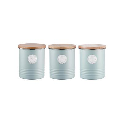 Living 3-Piece Blue Coffee, Tea & Sugar Canister with Bamboo Lid