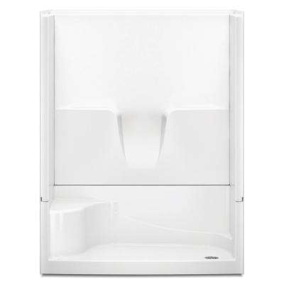 Remodeline 60 in. x 34 in. x 76 in. 4-Piece Shower Stall with Seat and Right Drain in White