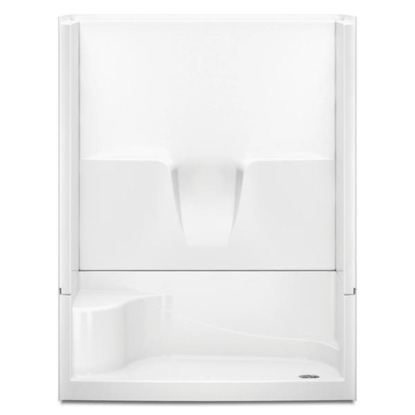 Varia 60 in. x 34 in. x 76 in. 4-Piece Shower Stall with Seat and Right Drain in White