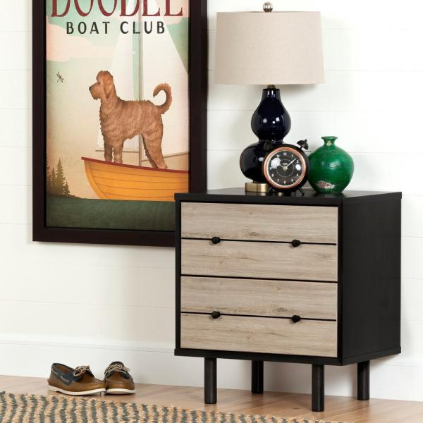 South Shore Morice 2-Drawer Ebony and Rustic Oak Nightstand 10503