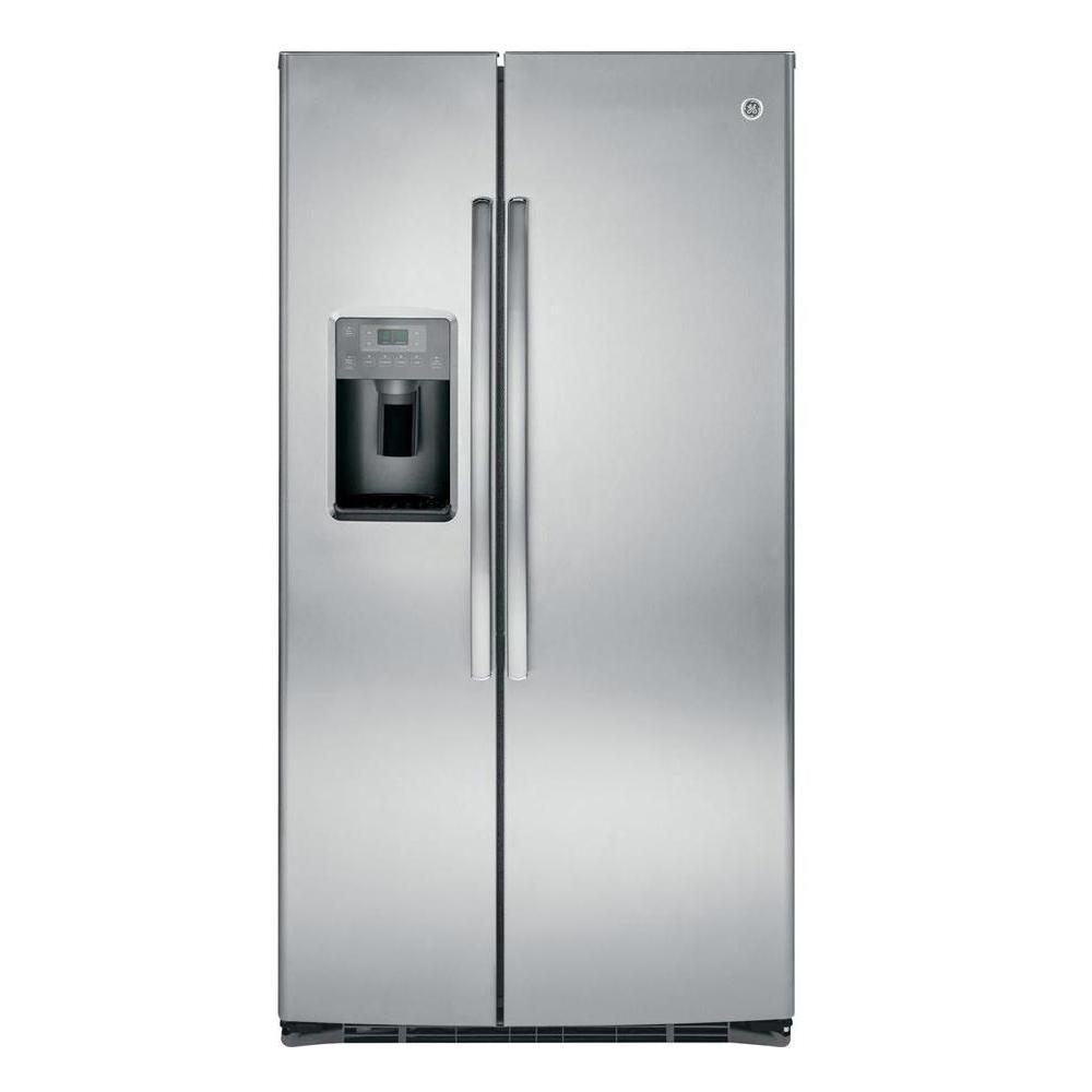 ge 36 in w 25 4 cu ft side by side refrigerator in stainless steel gse25hshss the home depot. Black Bedroom Furniture Sets. Home Design Ideas