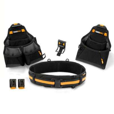23 in. Builder Tool Belt Set, Black (4-Piece)