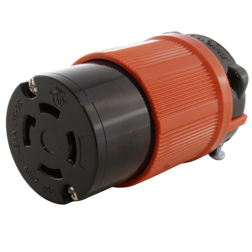 30 Amp 250-Volt 3-Phase NEMA L15-30R 4-Prong Industrial Grade Locking Wiring Plug on