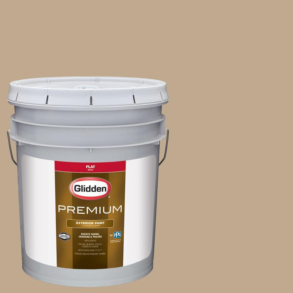5-gal. #HDGWN33 Camel Tan Flat Latex Exterior Paint