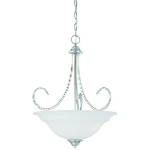 Bella 3-Light Brushed Nickel Pendant with Etched Glass Shade
